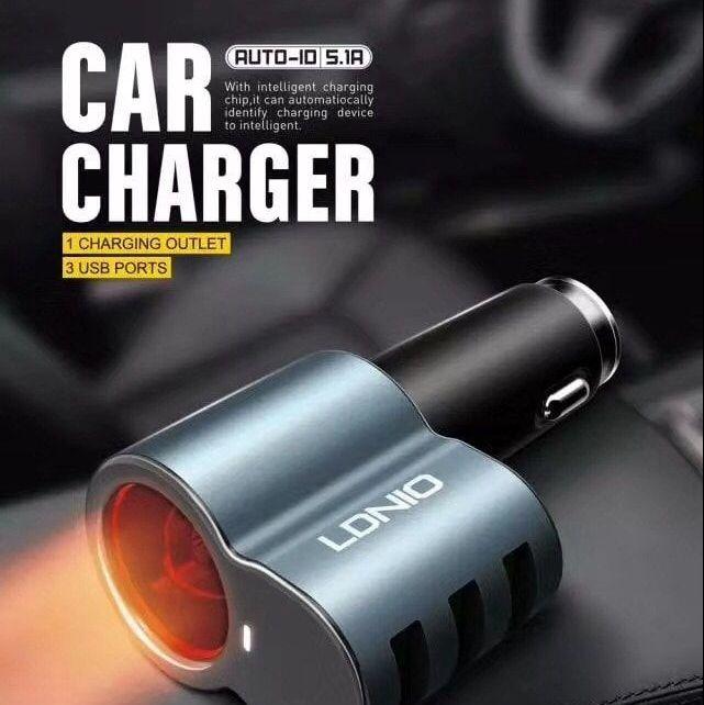 LDNIO力德諾 全金屬 5.1A 三口USB車充CM11手機平板通用車載充電器(贈線)